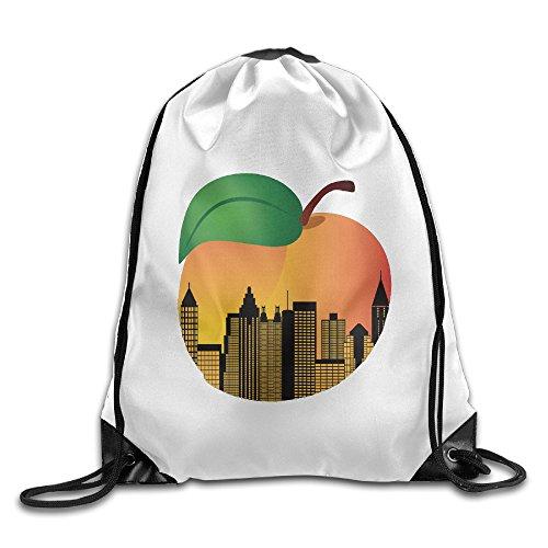 Unisex Atlanta Georgia Night Skyline Inside Peach Sports Drawstring Backpack Bag