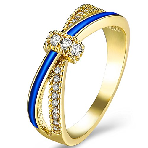 SAINTHERO Women's Criss Cross Rings 18K Gold Plated Princess CZ Diamonds Wedding Engagement X Promise Rings Her Jewelry Gift Size 7