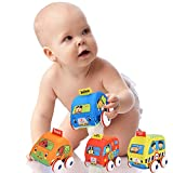Smibie Pull Back Soft Baby Toy Cars Play Set of 4-Packs, Friction Powered Cars, Early Educational Toys for 1-4 Years Old Boys and Girls