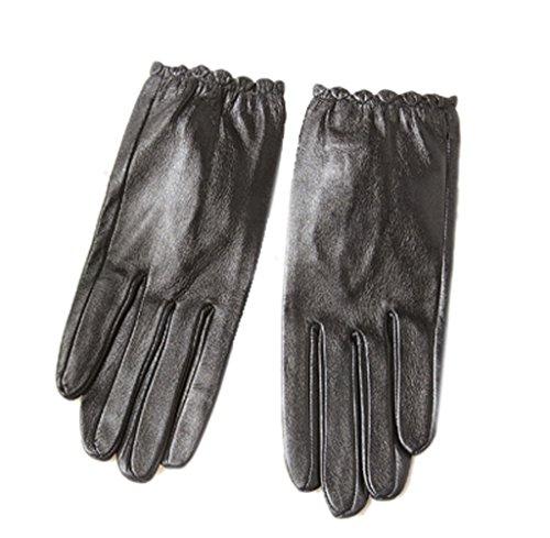 Liveinu Women's Casual Winter Warm Lambskin Leather Gloves L