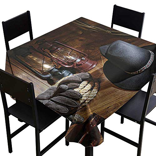 Cowboy Equipment Rodeo - SKDSArts Waterproof Tablecloth Rectangle Western Decor,American Rodeo Equipment with Cowboy Felt Hat Ranching Tools Lanterns,Black and Brown,W60 x L60 Spillproof Fabric Tablecloth
