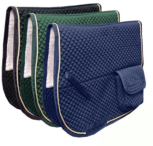 Derby Originals Dressage Saddle Pad with Pockets and Half Fleece Padding (Saddle Purpose Quilted Pads)
