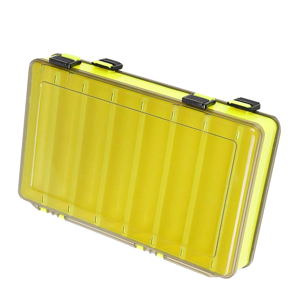 12/16 Compartments Double Sided Fishing Tackle Box Visible Hard Plastic Clear Fishing Lure Bait Squid Jig Minnows Hooks Accessory Storage Case Container (16-Compartment Double-Sided-Yellow) by Unknown