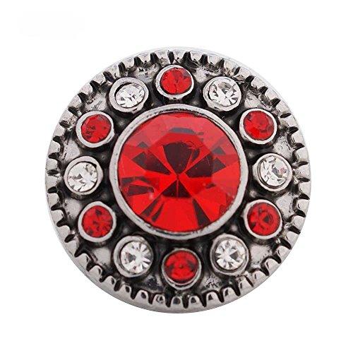 - Chunk Snap Charm Mini Petite 12mm Light Stone Center Crystal Border 1/2