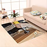 Sophiehome skid Slip rubber back antibacterial Area Rug door installation hands carpenter holding yellow power drill with wood hole saw drill bit 428590282 Home Decorative