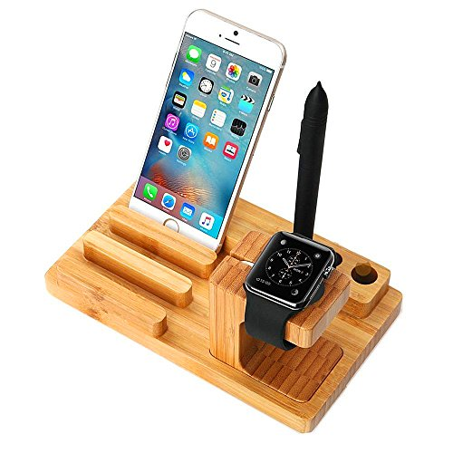 TuoP Wood Watch Stand, 38 mm/42 mm Charging Station Bamboo Wooden Dock/Cradle/Holder For Smartphones