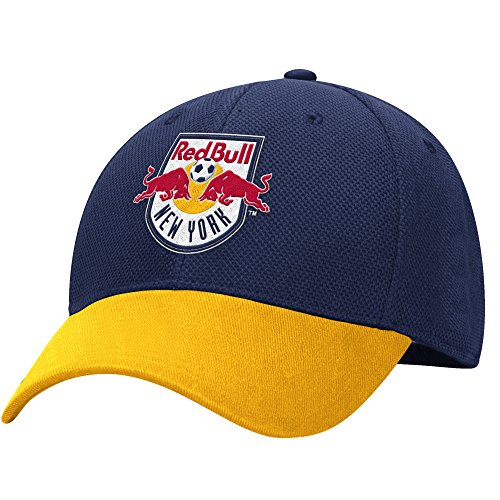 MLS M729Z New York Red Bulls Men's Structured Flex Jersey Hook Hat, Small/Medium, Blue/Gold