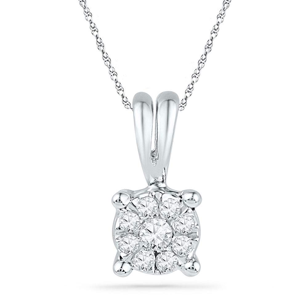 10kt White Gold Womens Round Diamond Cluster Pendant 1//10 Cttw