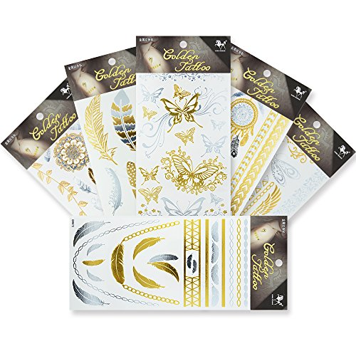 KINGHORSE Temporary Tattoos,6 Sheets with 80+ Flash Fake Tattoo Individual Styles Flowers,Leaves,Bracelets, Wrist and Arm Bands Designs for Sexy Body Makeup,Waterproof Tattoo (Tattoo Designs Armband)