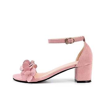 ff3363cb0e90 squarex Elegant Womens Block High Heel Sandals Flowers Adorn Buckle High  Heels Shoes (Foot Length