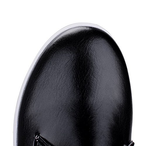 AllhqFashion Damen Niedriger Absatz Weiches Material Rein Schnüren Rund Zehe Pumps Schuhe Schwarz