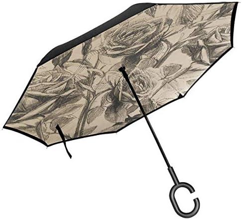 Sketch Rose 逆さ傘 逆折り式傘 車用傘 耐風 撥水 遮光遮熱 大きい 手離れC型手元 梅雨 紫外線対策 晴雨兼用 ビジネス用 車用 UVカット