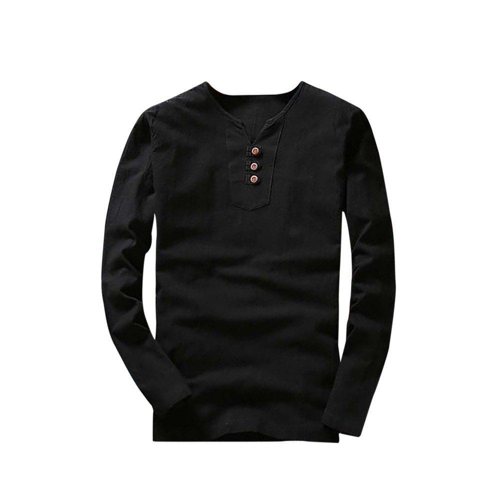 HHei_K Mens Casual Solid Linen Cotton Tops Long Sleeve Button V-Neck T-Shirt Blouse