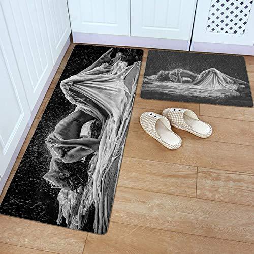 Prime Leader Kitchen Door Mats Set of 2, Stain Resistant Comfort Carpet Soft Non-Slip PVC Backing Floor Mats Runner Rugs Set, Gray Art Portrait of Sexy Woman in Heavy Rain 18