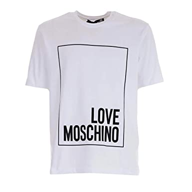 6422cb70c8 Love Moschino Mens Box Logo T-Shirt S White: Amazon.co.uk: Clothing