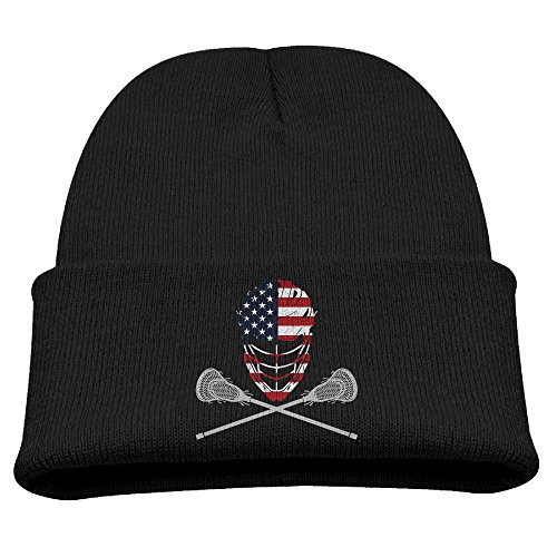 Lacrosse Helmet Crossed Sticks Unisex Kids Warm Winter Hat Knit Beanie Skull Cap Cuff Beanie Hat Winter Hats Black