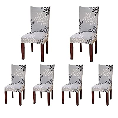 6 x Soulfeel Soft Spandex Fit Stretch Short Dining Room Chair Covers with Printed Pattern, Banquet Chair Seat Protector Slipcover for Home Party Hotel Wedding Ceremony