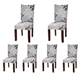 SoulFeel 6 x Soft Spandex Fit Stretch Short Dining Room Covers Printed Pattern, Banquet Chair Seat Protector Slipcover Home Party Hotel Wedding Ceremony, Pack of 6, Style 24