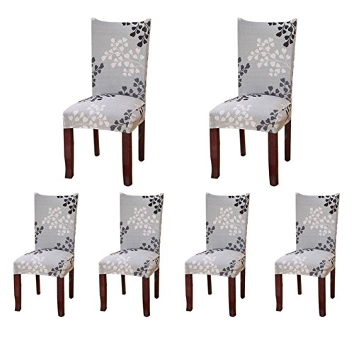 6 x Soulfeel Soft Spandex Fit Stretch Short Dining Room Chair Covers with Printed Pattern, Banquet Chair Seat Protector Slipcover for Hone Party Hotel Wedding Ceremony (Style 24)