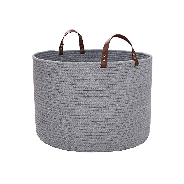 XXL Cotton Rope Basket,Storage Woven Baskets for Blankets,Laundry, Towel,Nursery Basket by Braided Crown (XXL Light Grey)