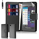 32nd® Book wallet PU leather case cover for Blackberry Z10 + screen protector, cleaning cloth and touch stylus - Black