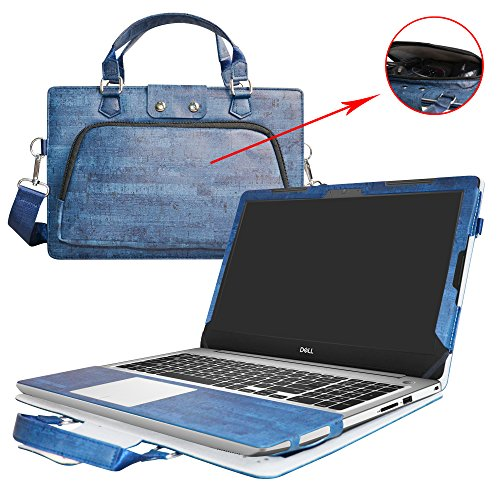 Inspiron 15 5570 Case,2 in 1 Accurately Designed Protective PU Leather Cover + Portable Carrying Bag For 15.6