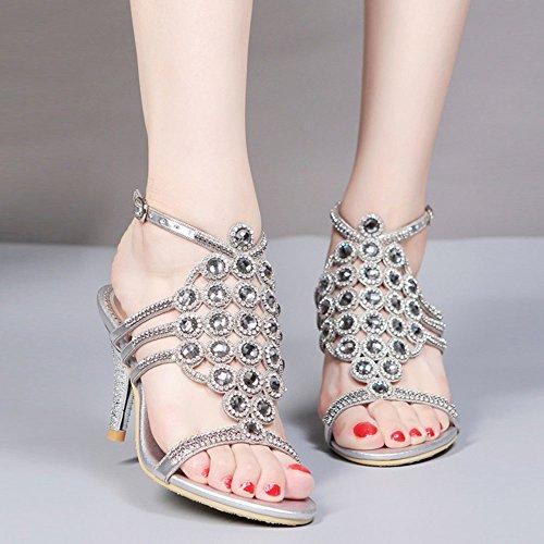 Estrás con de EU42 Zapatillas Hebilla con Puntera Women's de Tacón Redonda 5 Alto sandals con para Cabeza UK8 Mujer CN43 Plata 5 Abierta US10 wSnqO6CE