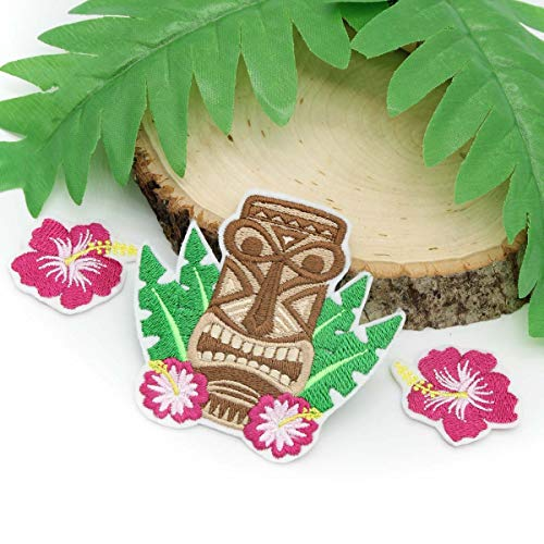 (Tropical Tiki Hibiscus Flowers Embroidered Patch Set Iron on Adhesive Included)