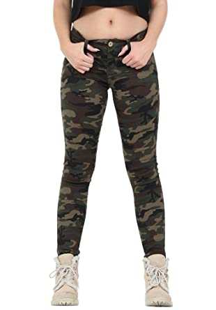 Nina Carter Damen skinny Jeans stretch slim kaki hose größe