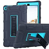 Shockproof Case for All-New Amazon Fire HD 8 Tablet (7th Gen 2017) - XRPow Heavy Duty Shock Defender Protective Cover Built-in Kickstand Blue