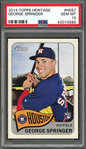 (2014 topps heritage #h557 GEORGE SPRINGER houston astros rookie card PSA 10 Graded Card)