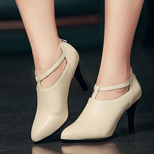 MissSaSa Damen high-heel T-Spange Pointed Toe Pumps mit Reißverschluss Beige
