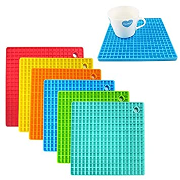 5b48f271d8e Buy Asier Hot Heat Resistant Square Silicone 4pc Pot Holder Coaster Pads  (Assorted Colors) Online at Low Prices in India - Amazon.in