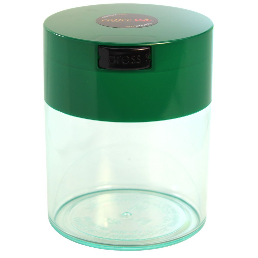Tightpac America, Inc. Coffeevac 1/2 lb - The Ultimate Vacuum Sealed Coffee Container, Green Cap & Clear Body