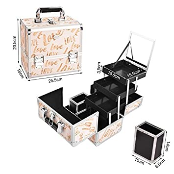 Amazon.com: Caja de tren de maquillaje profesional ajustable ...