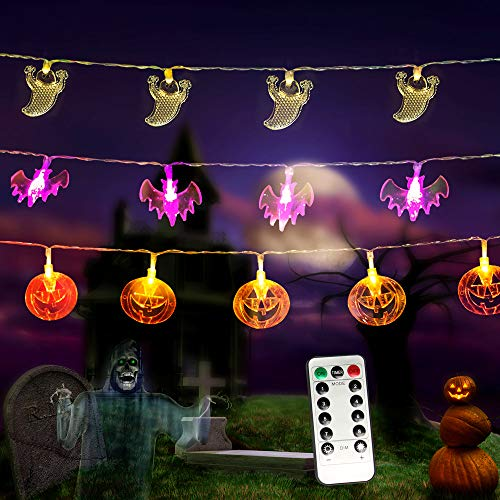 MZD8391 Halloween Lights, Set of 3 Battery Operated 11.5ft Pumpkin Orange Jack O'Lanterns Bat Ghost 30 LED Lights Each for Indoor/Outdoor Halloween Party Decoration, 8 Lighting Modes (Remote Control)]()