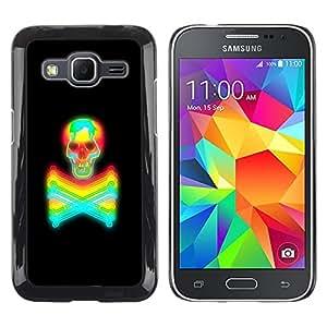 Shell-Star Arte & diseño plástico duro Fundas Cover Cubre Hard Case Cover para Samsung Galaxy Core Prime / SM-G360 ( Black Colorful Vibrant Neon Skull Tattoo )