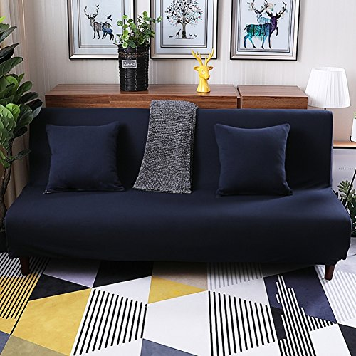 lovehouse Sofa bed slipcovers with 3 Cushion,Surefit sofa covers stretch, Stain resistant anti-Slip armless sofa protector 3 Seats couch for living room -navy 59-77in