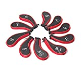 10Pcs Golf Clubs Iron Set Headcovers Head Cover Red + Black