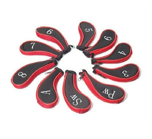 10Pcs Golf Clubs Iron Set Headcovers Head Cover Red + Black by Topai