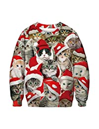 Katesid Women Men Ugly Christmas Pullover Shirt Funny 3D Print Graphic Xmas Tee