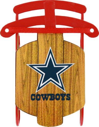 NFL Dallas Cowboys Football Metal Sled Christmas Ornament ()