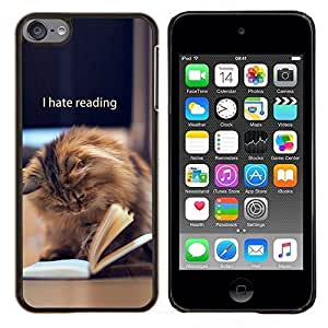 LECELL--Funda protectora / Cubierta / Piel For Apple iPod Touch 6 6th Touch6 -- Libro de lectura divertida del gato de pelo largo de Brown --