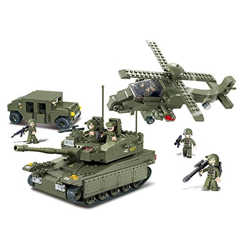 Sluban M38-B0309 Amphibious Onrush Blocks Army Bricks Toy-K-1 Tank and Hind Helicopter and Hummer Squad Car