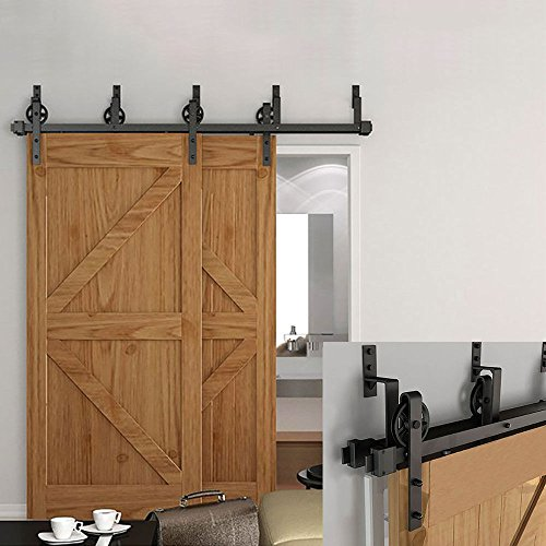 Hahaemall Modern Interior 5FT Big Wheel Bypass Sliding Barn Wooden Door  Hardware Double Track Rooling Hangers with Best Heavy Duty Kit