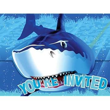 Amazon shark birthday party invitations fill in style 20 creative converting shark splash birthday party invitations 16 count filmwisefo