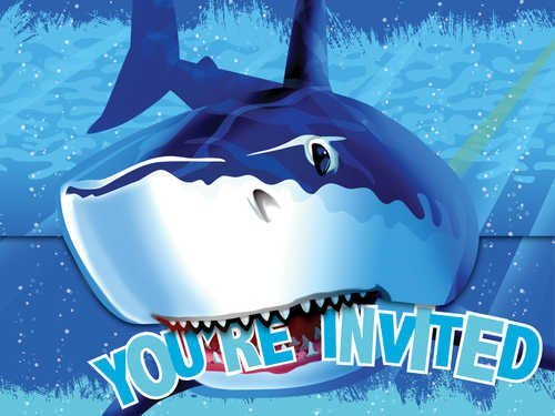 Creative Converting Shark Splash Birthday Party Invitations, 16 Count