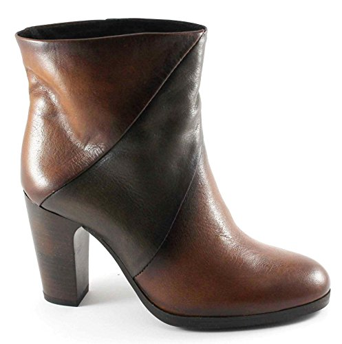 CAF NOIR HE105 t. dark stub woman heeled leather side zip Marrone T5noV