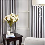 KoTing Home Fashion Solid Light Grey Soft Room Darkening Curtains Drapes Grommet Top,1 Panel,100 by 100-Inches For Sale