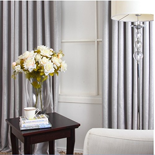 KoTing Home Fashion Solid Light Grey Soft Room Darkening Curtains Drapes Grommet Top,1 Panel,50 by 96-Inches